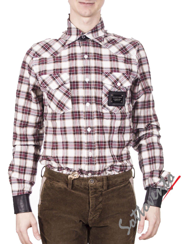Рубашка бело-бордо  Philipp Plein 8120