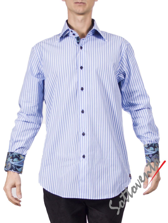 Рубашка голубая в полоску Giovanni Rosmini PLATINO260.