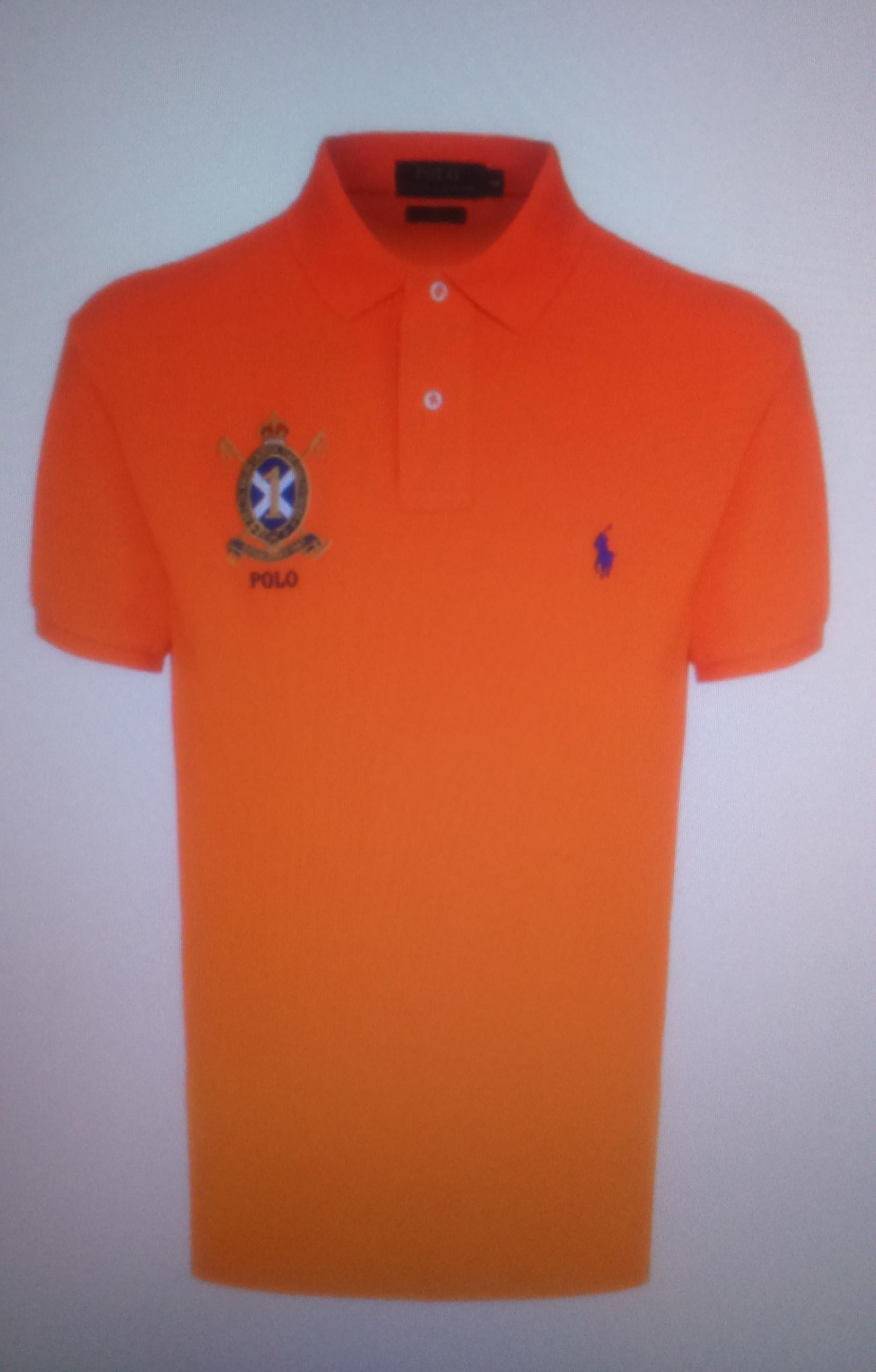 Поло оранжевое с гербом  Ralph Lauren арт.A12XZ7Z9