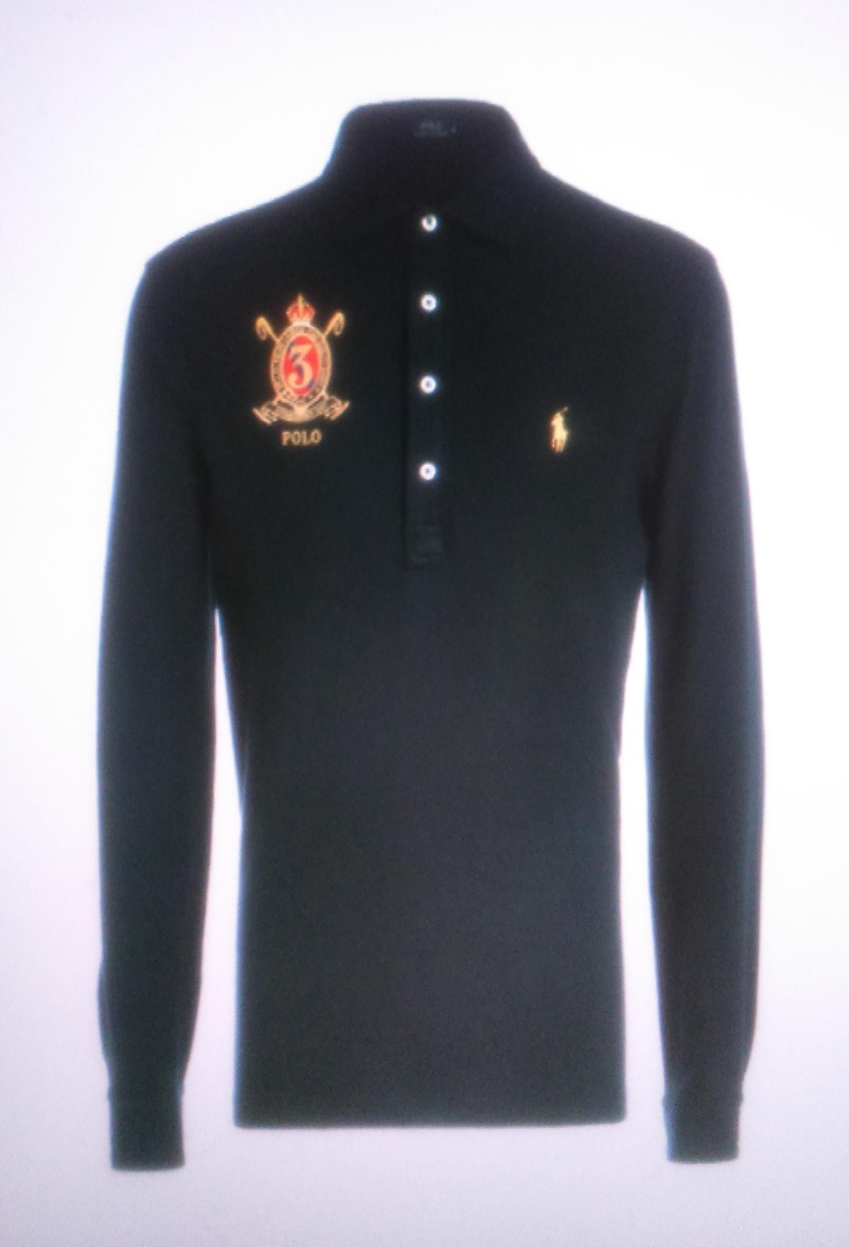 Поло синее с длинным рукавом с гербом  Ralph Lauren арт.A12XZ7ZG
