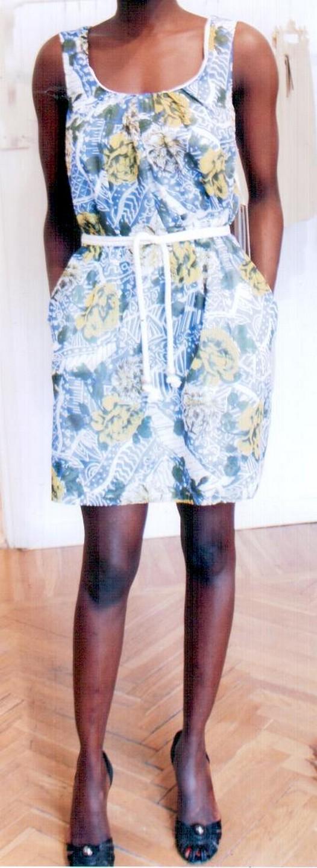 Платье жёлто-коричнево-голубое Matthew Williamson М061.