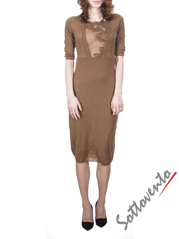 Платье светло-коричневое с кружевом  Ermanno Scervino Street 654.