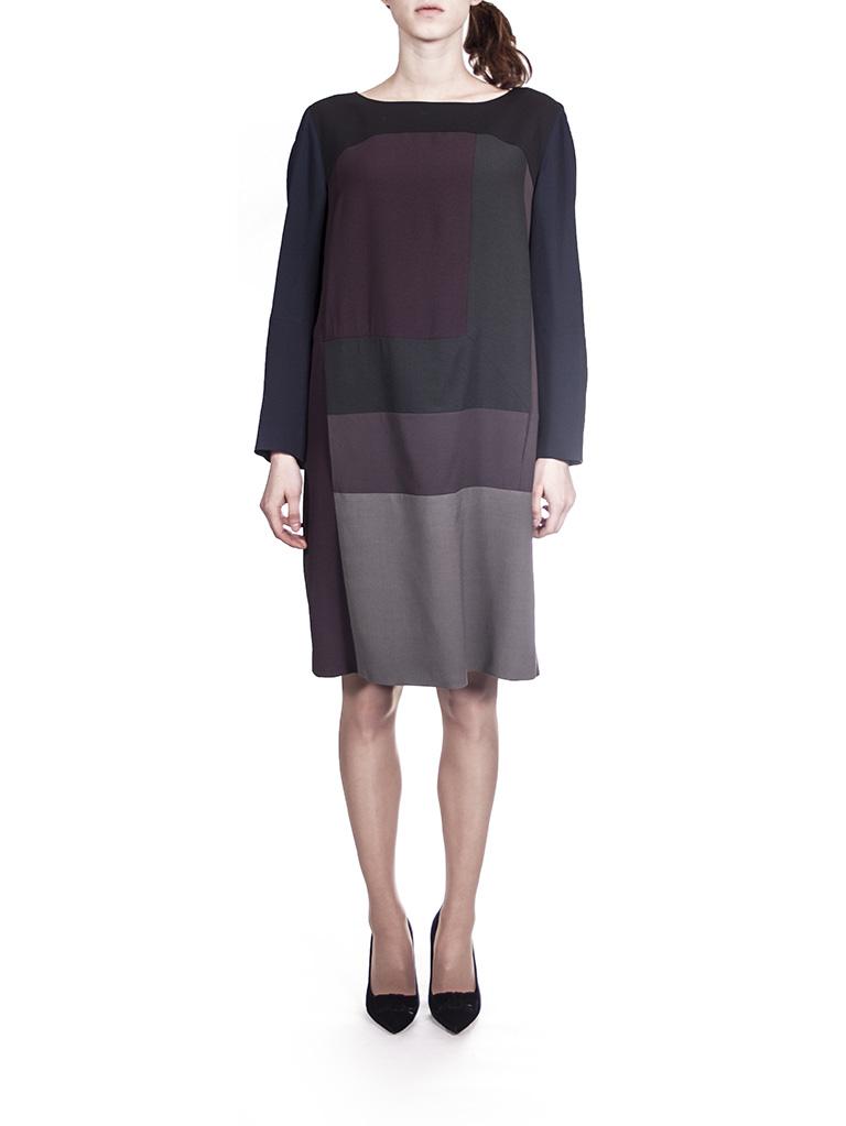Платье серо-чёрно-бордо  I'M Isola Marras 321295.