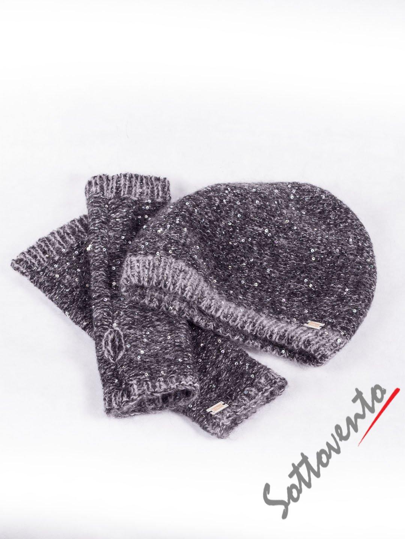 Шапка+перчатки  серые Blugirl Folies 2103.