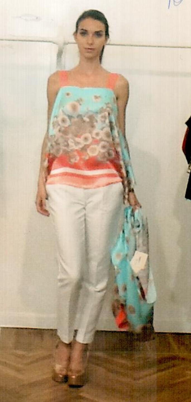 Блуза бело-голубая KI6? Who are you? CM06
