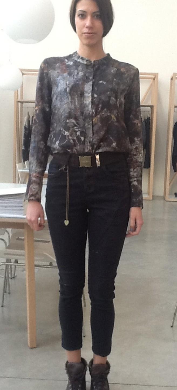 Брюки-джинсы т.серые с цепочкой HIGH 701772