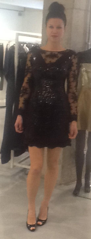 Платье черное с гипюром Meher&Riddhima A1565