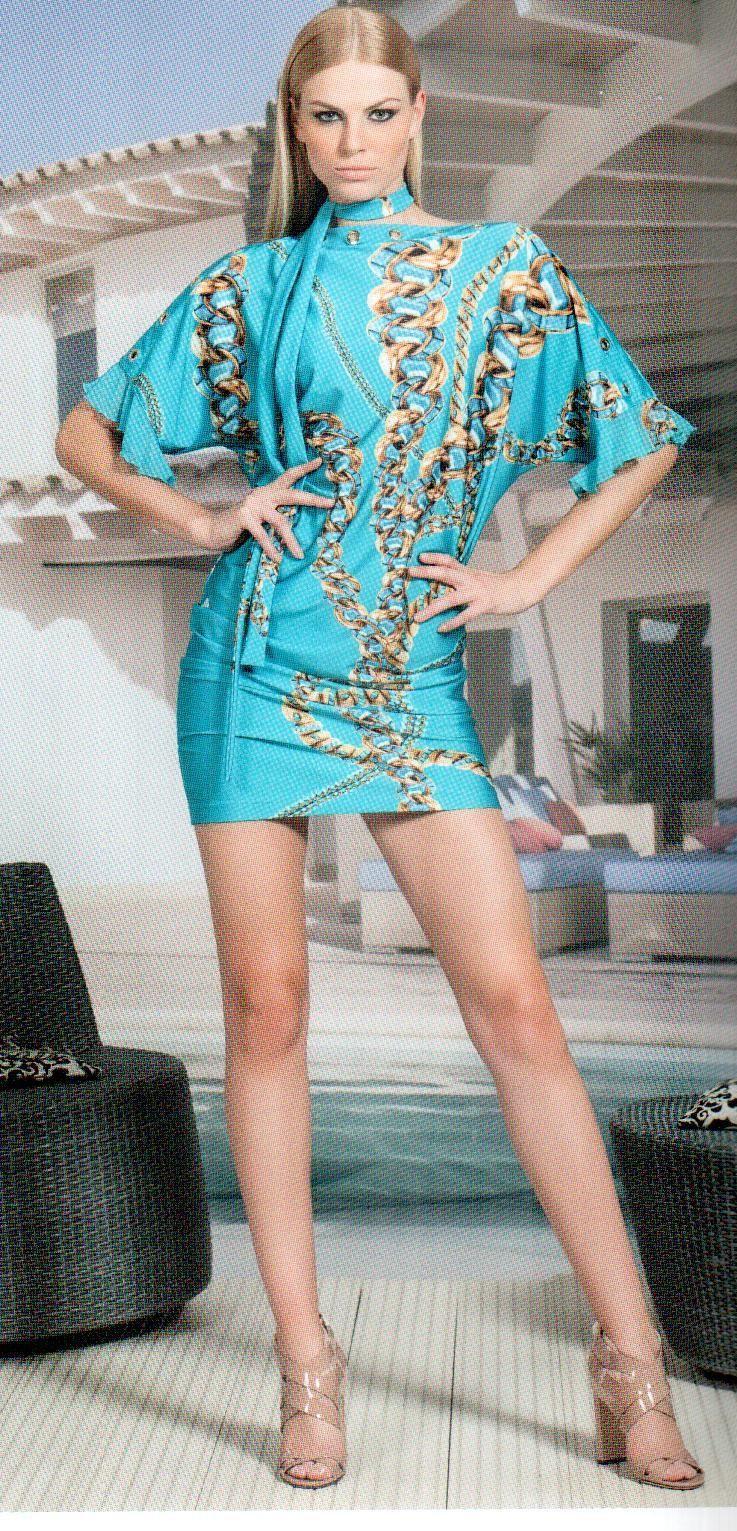 Платье бирюзово-золотое Daniela Drei 2264