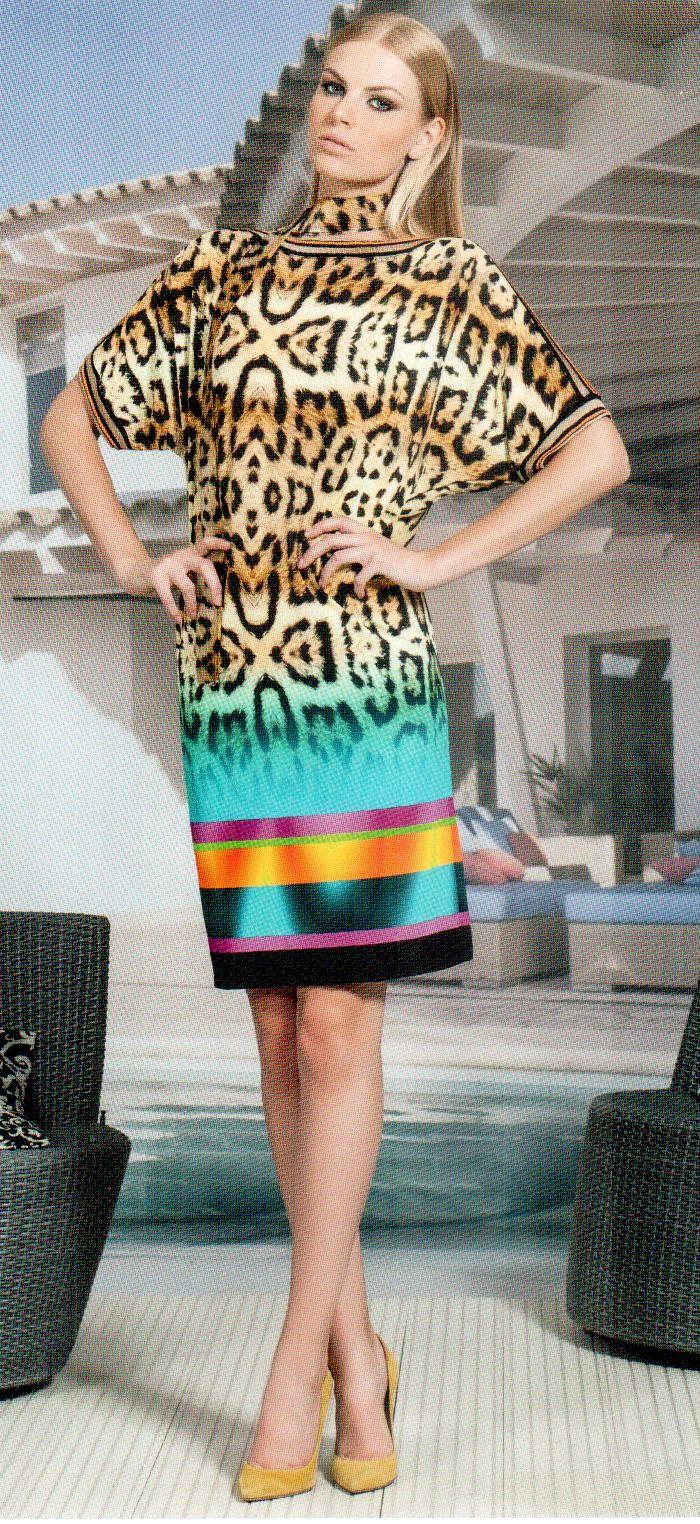 Платье бирюзово-золотое-желтое Daniela Drei 9108