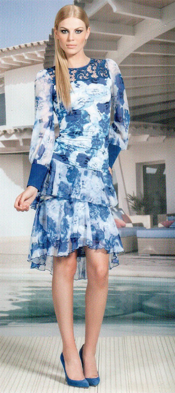 Юбка бело-синяя Daniela Drei 2255