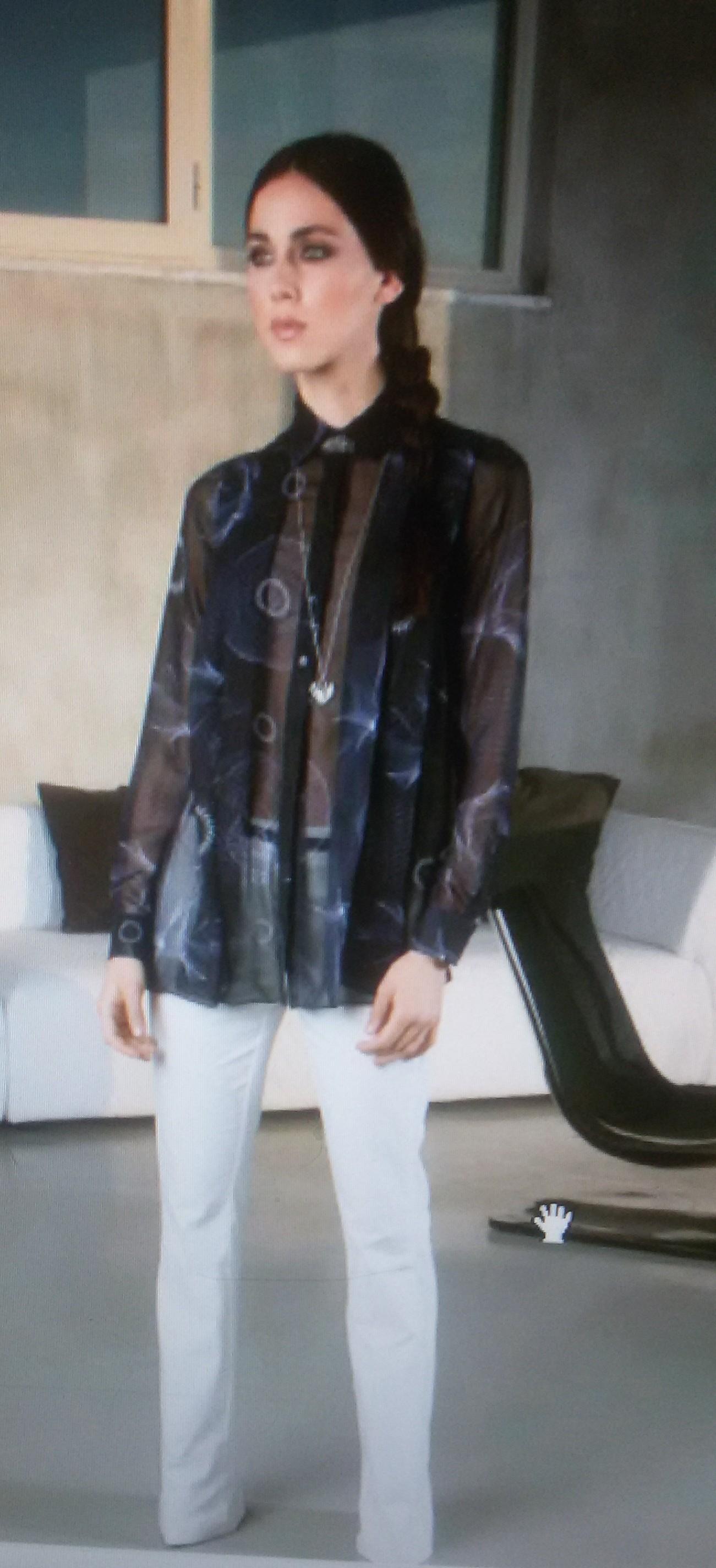 Рубашка черно-синяя  Frankie Morello арт.7091