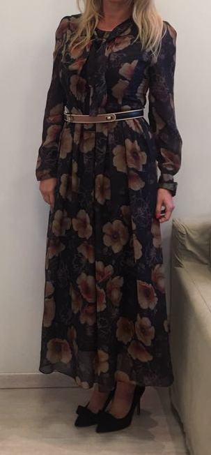 Платье коричневое в цветы ANONYME арт.U27FD024