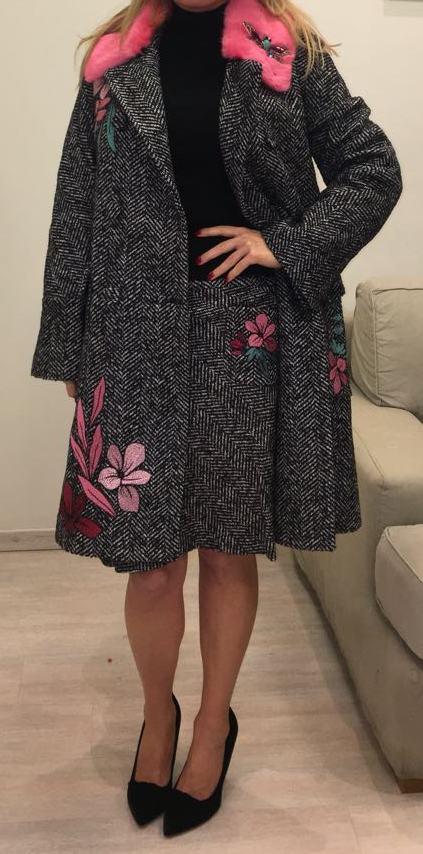 Пальто серое с вышивкой SFIZIO арт.2043