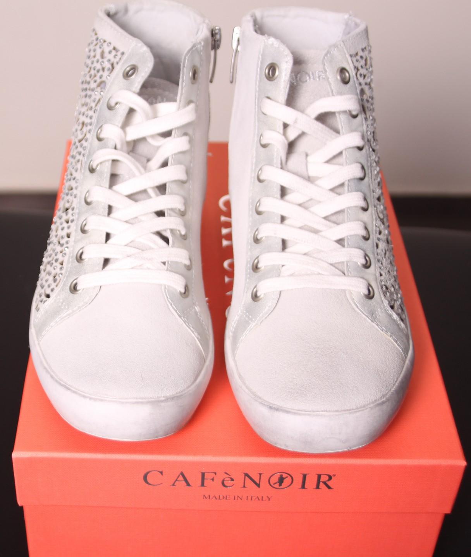 Кроссовки белые с блёстками CAFeNOIR Eg612
