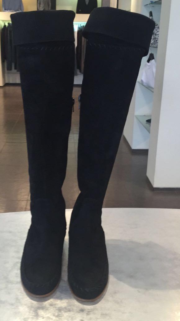 Сапоги ботфорты замшевые черные Blugirl Blumarine арт.65006