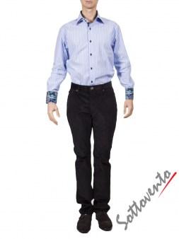 Рубашка голубая в полоску Giovanni Rosmini PLATINO260. Image 2