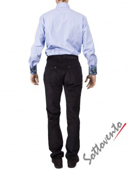 Рубашка голубая в полоску Giovanni Rosmini PLATINO260. Image 4