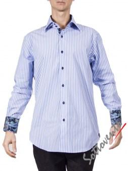 Рубашка голубая в полоску Giovanni Rosmini PLATINO260. Image 0