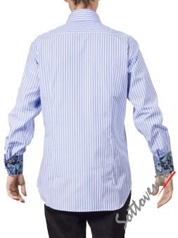 Рубашка голубая в полоску Giovanni Rosmini PLATINO260. Image 1