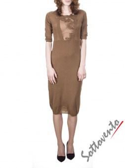 Платье светло-коричневое с кружевом  Ermanno Scervino Street 654. Image 0