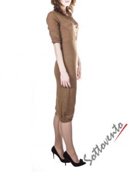 Платье светло-коричневое с кружевом  Ermanno Scervino Street 654. Image 2
