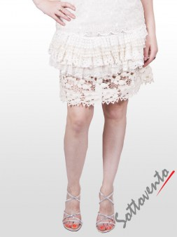 Юбка белая с кружевом  Valentino Red GN8AA Image 1