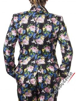 Пиджак  чёрный с цветами MSGM MDC17. Image 2